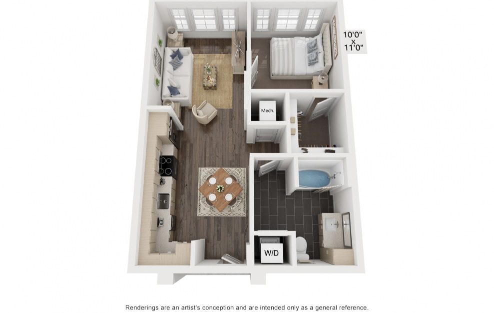 McGinley's Coco - Studio floorplan layout with 1 bath and 678 square feet. (3D)