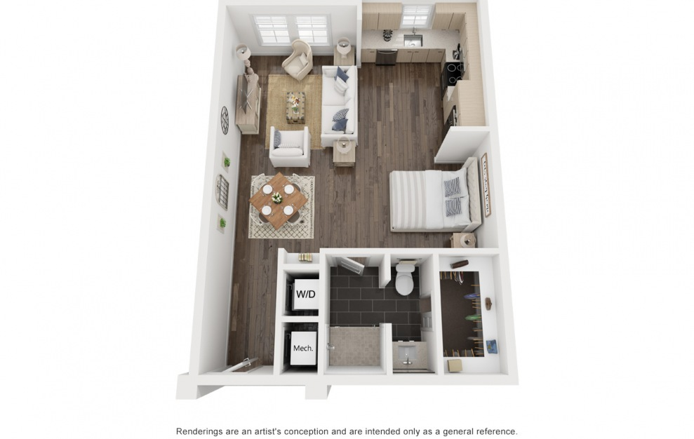 Klein's Kate - Studio floorplan layout with 1 bath and 689 square feet. (3D)