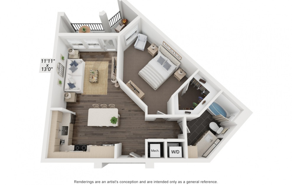 Warhol's Edie - 1 bedroom floorplan layout with 1 bath and 788 square feet. (3D)