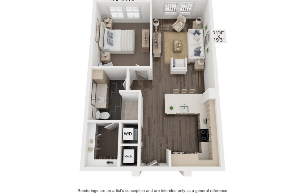 Dali's Gala - 1 bedroom floorplan layout with 1 bath and 824 square feet. (3D)