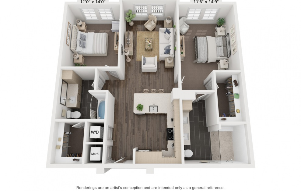 Maplethorpe's Patti - 2 bedroom floorplan layout with 2 baths and 1220 square feet. (3D)