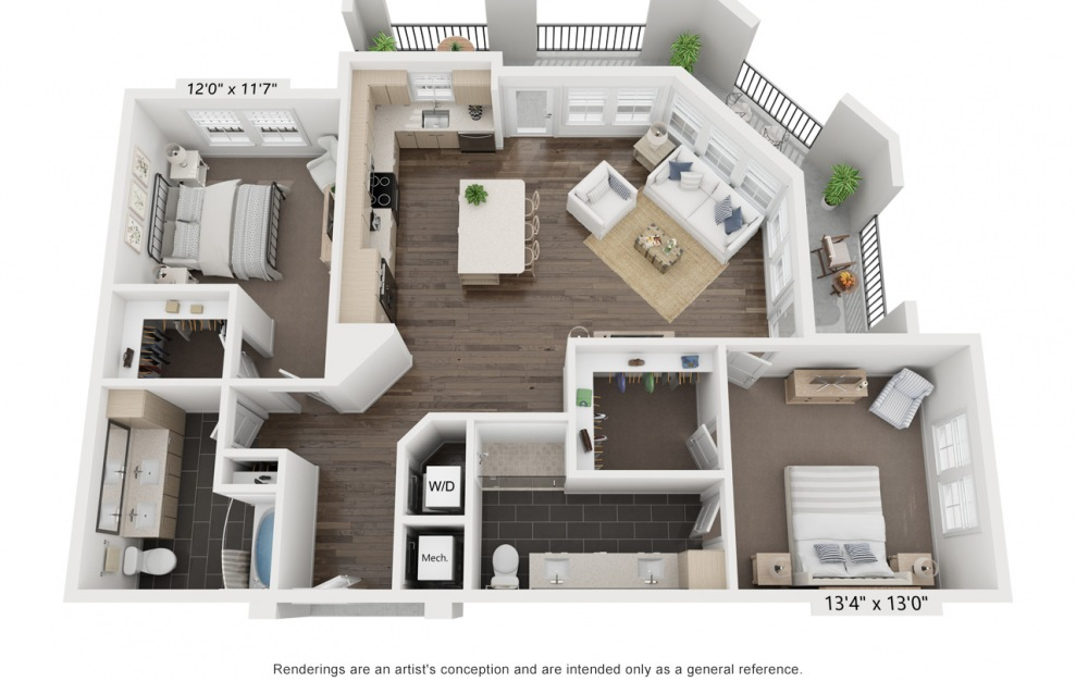 Vadim's Brigitte - 2 bedroom floorplan layout with 2 baths and 1306 square feet. (3D)