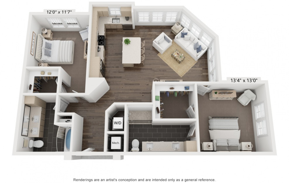 Ray's Kiki - 2 bedroom floorplan layout with 2 baths and 1306 square feet. (3D)
