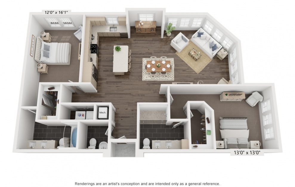 Katz's Ada - 2 bedroom floorplan layout with 2.5 baths and 1588 square feet. (3D)