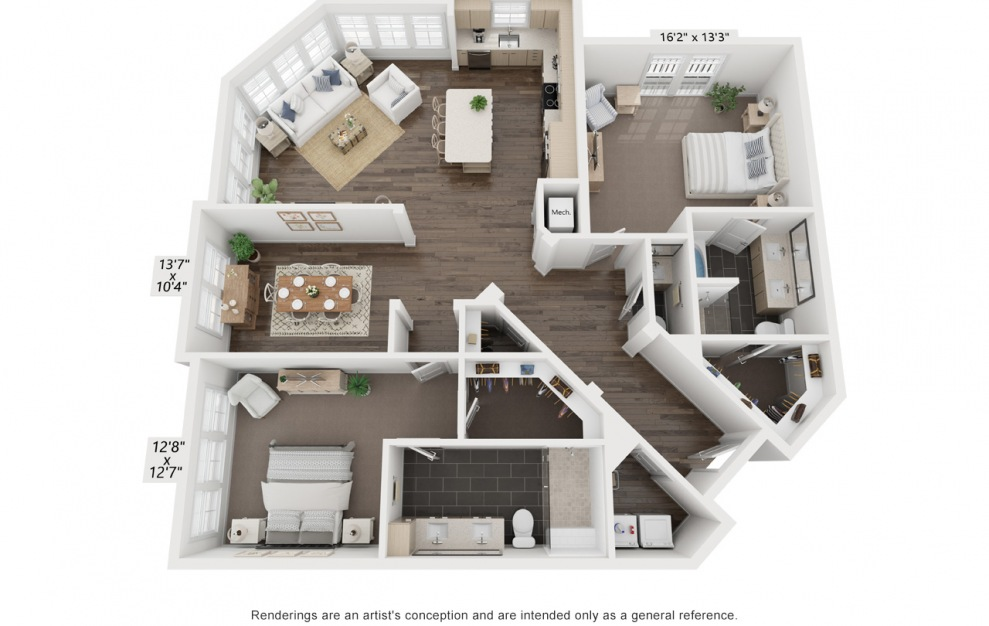 Picasso's Dora - 3 bedroom floorplan layout with 2 baths and 1710 square feet. (3D)