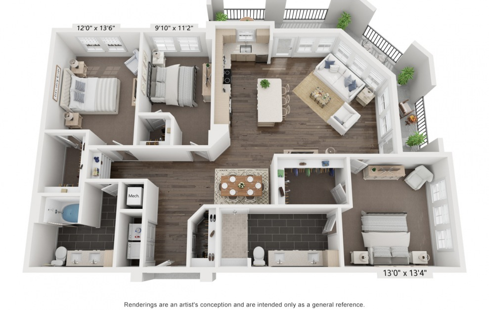 Dylan's Sara | C2 - 3 bedroom floorplan layout with 2 baths and 1606 square feet. (3D)