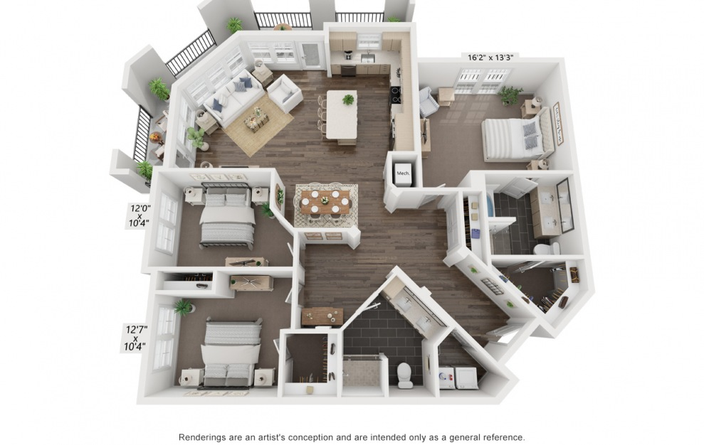 Picasso's Dora | C1 - 3 bedroom floorplan layout with 2 baths and 1710 square feet. (3D)