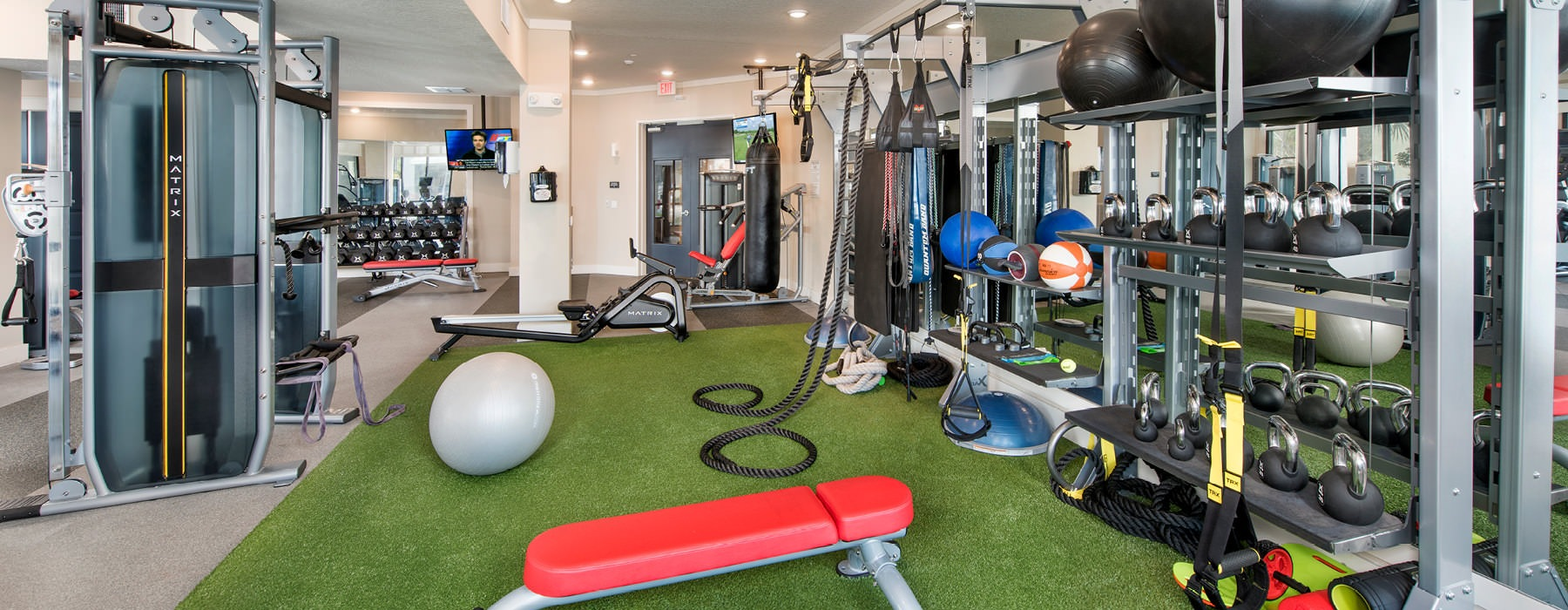 spacious, well lit fitness center